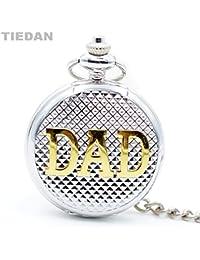 Lepakshi Tiedan Fashion Gold Dad Design Silver Retro Antique Quartz Pocket Watch For D