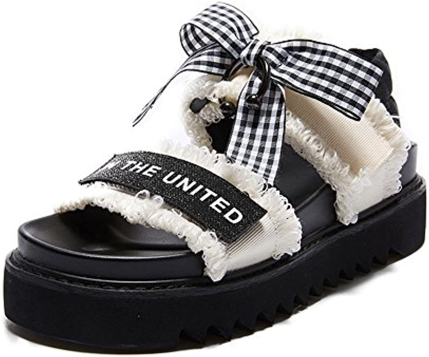 c45557737ed9b Sandals Feifei Women s Shoes Summer Summer Summer Cloth Material Fashion  Simple Comfortable Thick Bottom Beach Black and White... B07CBRRVWP Parent  46ba91