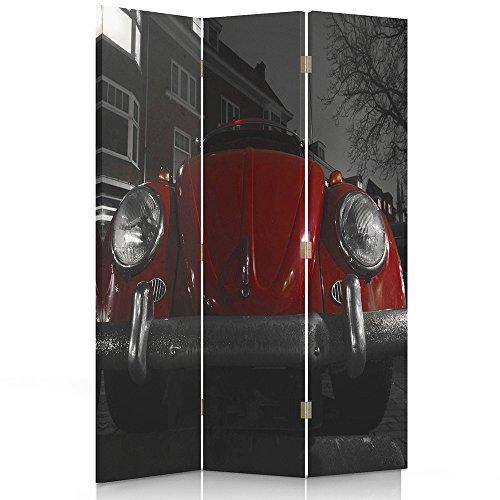 Feeby Frames. Raumteiler, Gedruckten aufCanvas, Leinwand Wandschirme, dekorative Trennwand, Paravent beidseitig, 3 teilig, 360° (110x180 cm), MOTORISIERUNG, Auto, VW Beetle 2, EINFARBIG
