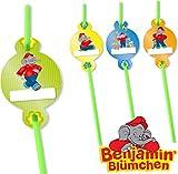 8 Trinkhalme * BENJAMIN BLÜMCHEN * mit Namenschilder für Kinderparty und Kindergeburtstag von DH-Konzept // Töröööö // Elefant Kinder Strohhalme Straws Party Set