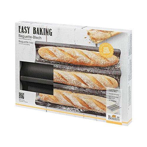 Birkmann 1010750110 Baguette-Blech, Easy Baking, 38,5 x 28 cm, Kunststoff, Grau, 5 x 3 x 2 cm