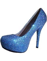 3-W-Hohenlimburg Elegante Glamour Stiletto Pumps High Heels mit Glitzer Damenschuhe PHH025 Farbvarianten: Rot...