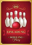 6 Einladungskarten zum Kindergeburtstag Bowling / Einladungen Geburtstag