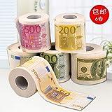 Wllenen Carta Igienica Creativa Carta Igienica Nucleo Rotolo Carta Personalità Carta Euro Moneta Euro Carta Fiore 6 Volumi