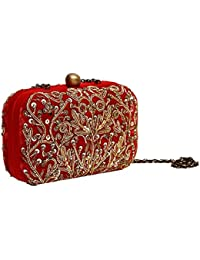 Generic Punere Leather Women's Hand Wallet Red Color With Golden Flower With 8 Cards Slot