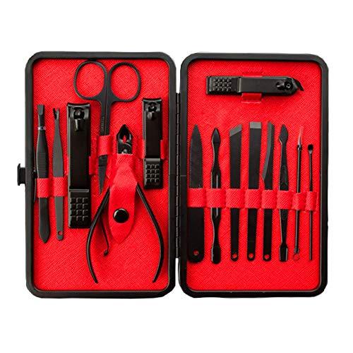 Edelstahl Nagelknipser Set Maniküre-Set 15 In 1 Maniküre Und Pediküre Grooming Kit Schwarz Und Rot -