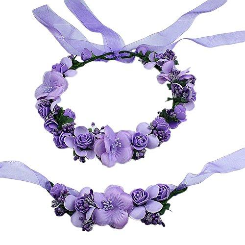 2X Toruiwa Braut Haarband Stirnband Haarkranz Blumenkrone Garland mit Blumen Armband zum Hochzeit Parteien (Lila)