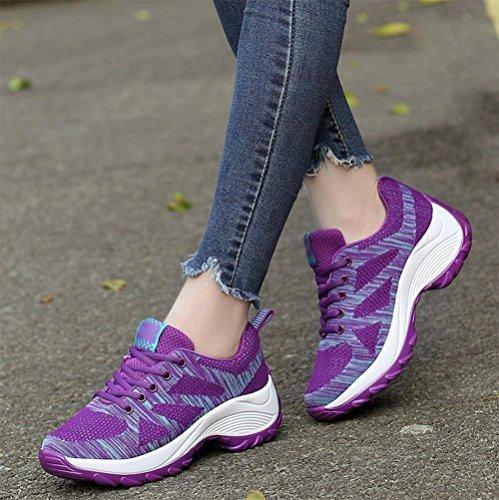 Traspirante scarpe sportive maglia scarpe casual fondo pesante scarpe da donna sono aumentate Purple