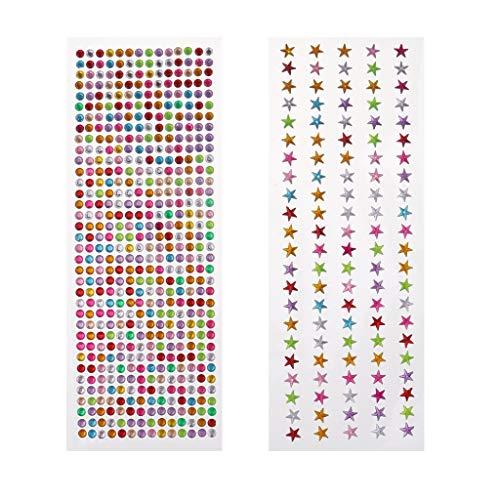 D DOLITY 2X Mix Farbe Kristall Schmucksteine Glitzersteine Aufkleber Bunt Strasssteine Selbstklebend Dekosteine Hochzeit Dekoration - fünfzackigen Stern Punkt, 0.7-0.9 cm -