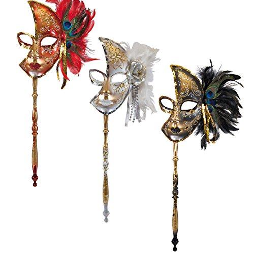 Decor Service Maske mit Stab, Pappe, Bunt 22 x 11 ()