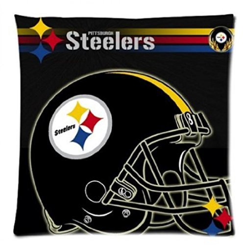 Worldwide Mall 18X 18Inch One Side Standard Zippered Throw Pillow Case Nfl Steelers Team Square Cotton Polyester Cushion Cover