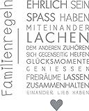 GRAZDesign 300126_57_WT074 Wandtattoo Familie -Familienregeln | in Vielen Farben | lustige Wand-Sprüche für Dein Zuhause | Selbstklebende Wand-Folie (72x57cm//074 Mittelgrau)