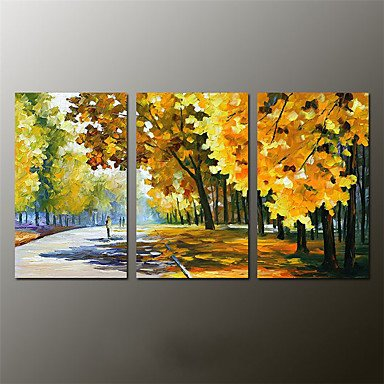 """Preisvergleich Produktbild XHL Art Hand-Painted Abstract / Abstract Landscape 100% Hang-Painted Oil Painting,Modern Three Panels Canvas Oil Painting For Home Decoration , 12"""" x 36"""""""