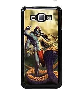 Fuson Designer Back Case Cover for Samsung Galaxy J1 (6) 2016 :: Samsung Galaxy J1 2016 Duos :: Samsung Galaxy J1 2016 J120F :: Samsung Galaxy Express 3 J120A :: Samsung Galaxy J1 2016 J120H J120M J120M J120T (Angry Ardhanarishvara Shiva Parvathi Snake Trishul)