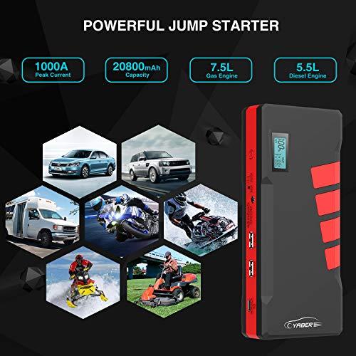 YABER-Avviatore-di-Emergenza-per-Auto-1000A-20800mAh-Avviatore-Batteria-AutoFino-a-75L-a-Benzina-o-Diesel-da-55L-12V-Jump-Starter-Booster-con-Display-LCD