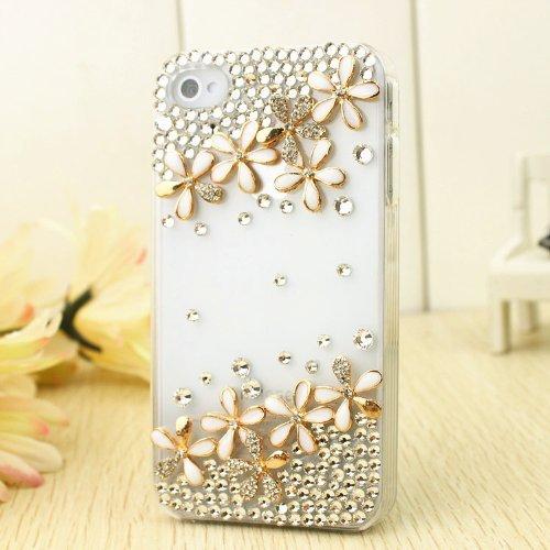 Handgefertigt Kristall Classic Bling Glänzend Blume Kleeblatt 3D Besondere Strass Party Schutzhülle für Apple iPhone Classic Smart Handys, iPod Touch 5 5G 5th Gen (Smart Ipod Touch 5g Case)