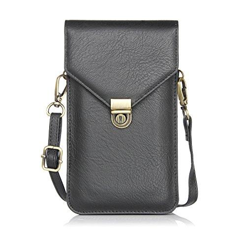 Nur Modus Damen Umhängetasche PU-Leder Umschlag Clutch Geldbörse Handy Tasche für iPhone Samsung Galaxy/Note HTC und Täglichen Gebrauch mit Abnehmbarer Verstellbarer Gurt, B-Blck -