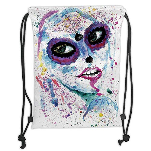 Fashion Printed Drawstring Backpacks Bags,Girls,Grunge Halloween Lady with Sugar Skull Make Up Creepy Dead Face Gothic Woman Artsy,Blue Purple Soft Satin,5 Liter Capacity,Adjustable String Closure