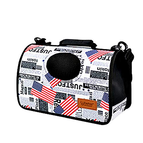 YYJL Oxford-Stoff tragbare mobile Zwinger Haustier Rucksack Schulter aus Katze Hund Haustier Tasche,S-American flag pattern -