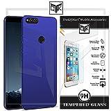 #7: TheGiftKart Honor 7X Back Cover + Tempered Glass - Ultra Slim Matte Velvet Feel Hard Cover (Metallic Blue) + HD Tempered Glass