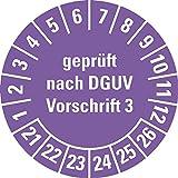 LEMAX® Prüfplakette gepr.n. DGUV Vorschrift 3 21-26,violett,Dokumentenfolie,Ø 20mm,36/Bogen