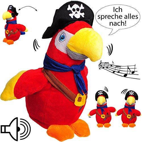 NACH sprechender - Papagei / Vogel / Ara - Pirat -  Ich spreche Alles nach & bewege Mich dazu  - aus Stoff / Plüsch - Plüschtier - mit ()