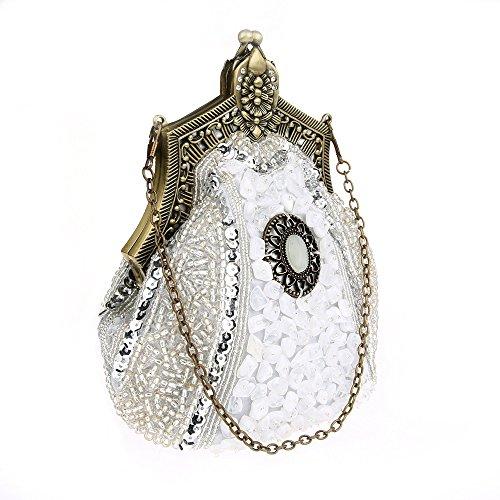 KAXIDY Damen Samen-Perlen Abendtasche Hochzeit Bead-hand-knit Abschlussball Party-Abend Handtasche Silber