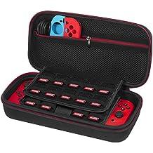 Tasche für Nintendo Switch - Younik Verbesserte Version Harte Reise Hülle Case mit größerem Speicherplatz für 19 Spiele, offizieller Wechselstromadapter und anderes Nintendo Switch Zubehör