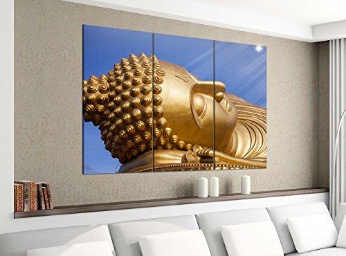 Leinwandbild 3tlg 120cmx100cm Big Buddha Schlaf Thailand Statue Bilder Druck auf Leinwand Bild Kunstdruck mehrteilig Holz 9YA2610, 3 Tlg 120x100cm:3 Tlg 120x100cm