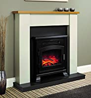 Be Modern Ravensdale Ivory Stone Effect Surround Oak Top Shelf Electric Stove Fireplace Suite 2kW