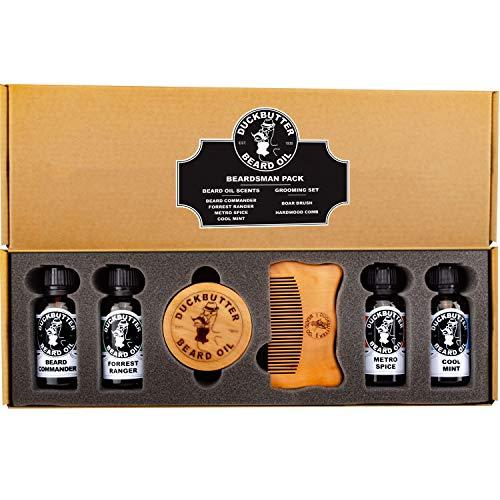 DUCKBUTTER Bartöl von DuckButter (Beard Oil) Bartträger Set - 4 Düfte zusammen mit dem Geschenkset aus Bürste und Kamm