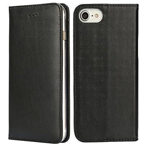 IPHOX Coque iPhone 7 Plus Étui de Protection Porte-cartes en Cuir Portefeuille multi-Usage Housse Rabattable Fermeture Magnétique par Clapet -Noir/Élégance