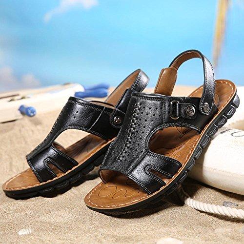 Herren-Ledersandalen bequem zu tragen langlebig und rutschfest Sommer waten Schuhe Black