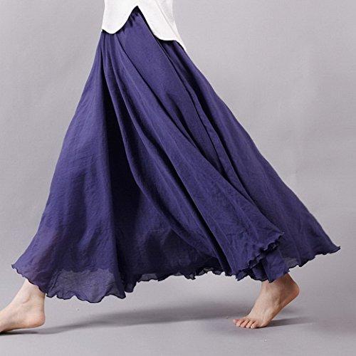 Donna Gonna Lunga Vestito A-Lino Cotone Vintage Maxi Gonna , Colore solido Blu scuro