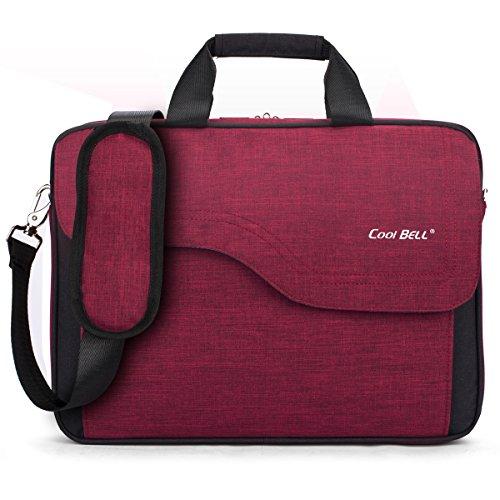 CoolBell 17,3 Zoll Laptop Tasche Nylon Schultertasche mehrfach Abteil Messenger Bag Handtasche Aktentasche Businesstasche Notebooktasche für Laptop/Tablet / MacBook,Rot
