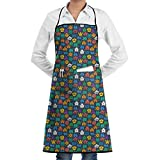 DFHome Retro Space Invaders Video Game Cooking Apron Kitchen Apron Painter Apron Lock...