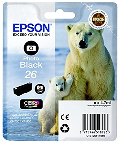 Epson C13T26114022 Cartouche d'encre compatible avec Imprimante Epson Expression Premium Photo Noir