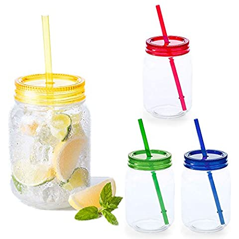 4 paquet de 600ml en plastique multi Couleur Mason Jars Jam Cocktail Boisson Pot avec paille - BPA Party Tumbler