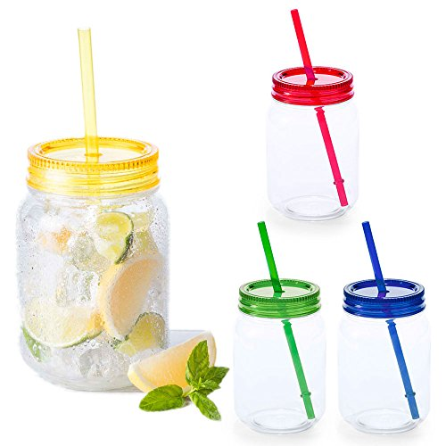 eBuyGB 600ml Mason Jam Cocktail Trinken Jar mit Straw-BP Party Becher, X 4, BPA frei Kunststoff, Mehrfarbig, 28,4x 17,4x 8.61cm