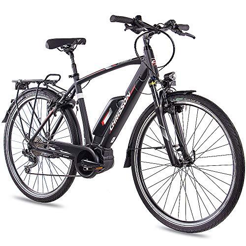 CHRISSON 28 Zoll Herren Trekking- und City-E-Bike - E-Rounder schwarz matt - Elektro Fahrrad Herren - 9 Gang Shimano Deore Kettenschaltung - Pedelec mit Bosch Mittelmotor Active Line 250W, 40Nm