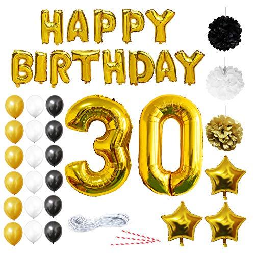 BELLE VOUS 30 Cumpleaños Decoracion - Globos de Cumpleaños Guirnalda - Globos de Helio para el Aniversario de Boda, Fiesta Décor para Niña Niño Hombre Mujer (números 30 Happy Birthday) - Regalos Kit