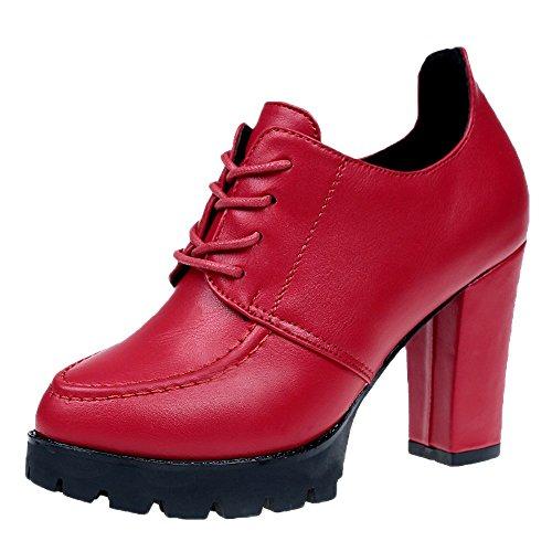 OHQ Petite Fille Britannique avec des Talons Hauts Rouge Noir Chaussures à pour Femmes Fashion Britanniques Filles Balance Femme Ville Cuir Blanche (35, Rouge)