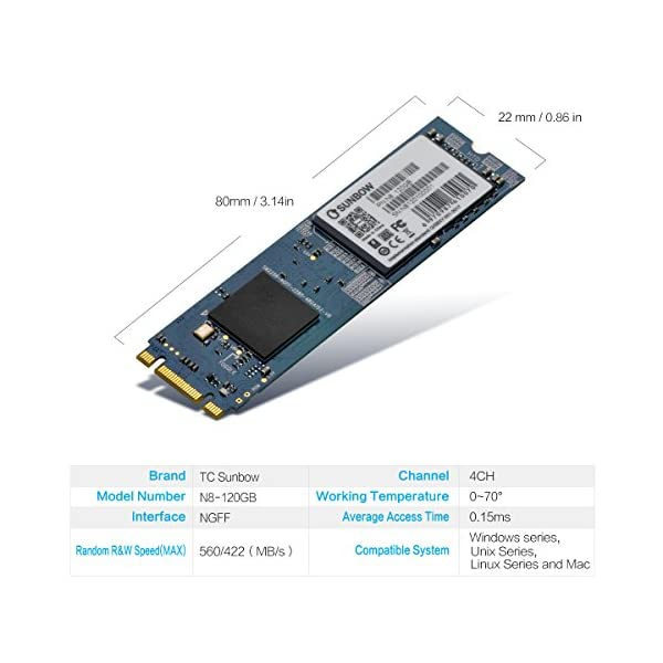 TCSUNBOW M.2 2280 NGFF 120GB 240GB Solid State Drive 256GB M.2 2242 Disk for Desktop PCs and MacPro (N8 80 mm)