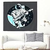 Anime Divertente Astronaut gioco Basso Artigianato Murale Carikatur spaziale Musica Luna Stelle Fantasie Arazzo Carta da Parete Kosmos Decorazione da Parete Casa 230x150cm bianco