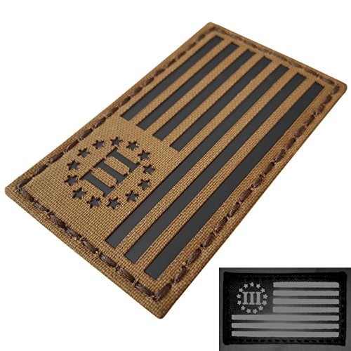 Coyote IR Three Percenter Oathkeeper USA Flag Infrared Tan Laser Tactical Morale Fastener Patch Tan Uniform