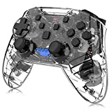 Kabelloser Controller für Nintendo Switch, Momen Wireless Pro Switch Controller Gamepad Joystick mit Dual Shock, 6-Achsen Gyroskop für Nintendo Switch (Transparent Black)