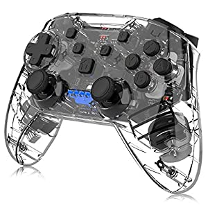 Switch Pro Controller für Nintendo Switch, Momen Wireless Switch Controller mit Dual Shock, 6-Achsen Gyroskop und Turbo Funktionen (Transparent Black)