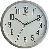 Oreva Ossor145Sl Ajanta (Oreva) Quartz Plastic Round Shape 30 Cm X 30 Cm Fancy Premium Home Decor Wall Clock (Silver)
