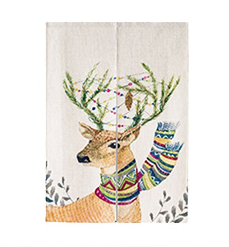 ay Vorhang Japanische Noren Panels Elk Türvorhang mit Zugstabsysteme 85x120cm Maria der Elche 120cm X 85cm (Hippie-perlen-tür)