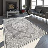 Paco Home Orient Teppich Modern 3D Effekt Meliert Schimmernd Ornamente Bordüre Grau Weiß, Grösse:200x290 cm